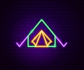 Neon camping sign © Getty Images